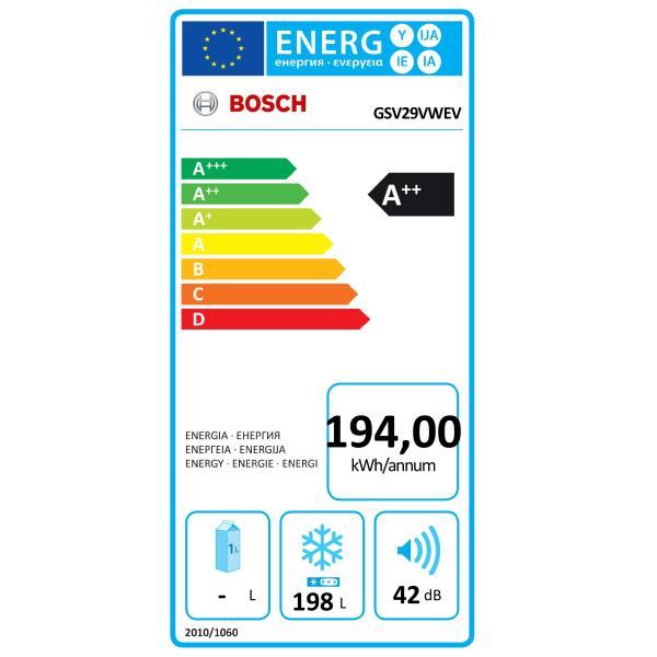 Congélateur armoire froid statique BOSCH - GSV29VWEV label