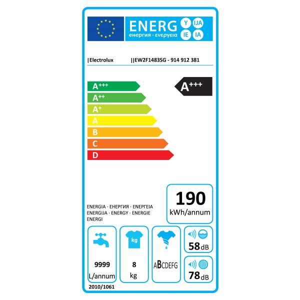 Lave-linge frontal ELECTROLUX - EW2F1483SG label